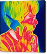 A Thermogram Of A Boy Talking Canvas Print