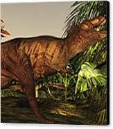 A Tyrannosaurus Rex Runs Canvas Print by Corey Ford