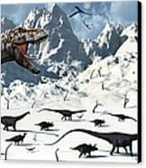 A  Tyrannosaurus Rex Stalks A Mixed Canvas Print