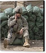 A U.s. Army Soldier Talks On A Radio Canvas Print