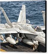 A Us Navy Fa-18c Hornet Tied Canvas Print by Giovanni Colla