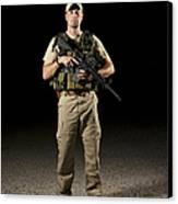 A U.s. Police Officer Contractor Canvas Print by Terry Moore
