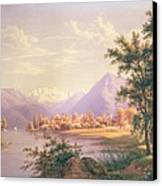 A View Of Scherzingen On The Lake Of Thun Canvas Print by Jakob Suter