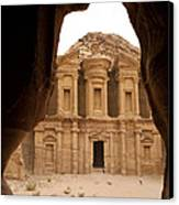 A View Of The Monastary In Petra Canvas Print