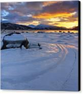 A Winter Sunset Over Tjeldsundet Canvas Print by Arild Heitmann