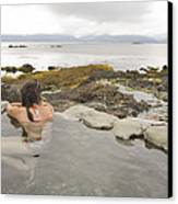 A Woman Enjoys A Hot Spring Canvas Print