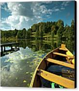 A Wooden Boat On A Lake In Suwalki Lake District Canvas Print by Slawek Staszczuk