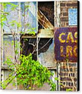 Abandoned Factory With Rusted Metal Sign Canvas Print by Gordon Wood