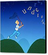 Abstract Artwork Of A Dyslexic Boy Chasing Words Canvas Print