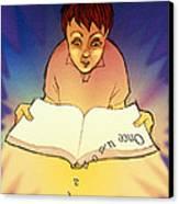 Abstract Artwork Of A Dyslexic Boy Reading A Book Canvas Print by David Gifford