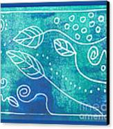 Abstract Block Print In Blue Canvas Print by Ann Powell