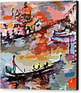 Abstract Venice Italy Gondolas Canvas Print by Ginette Callaway