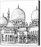 Abu Dhabi Masjid In Ink  Canvas Print by Adendorff Design