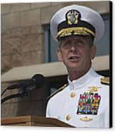 Admiral Eric Olson Speaks Canvas Print by Michael Wood