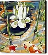 Admiring A Lotus Canvas Print by Robert Wolverton Jr