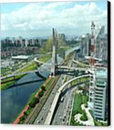 Aerial View Of Bridge Estaiada Canvas Print