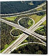 Aerial View Of Junction In Bavaria Canvas Print by Daniel Reiter