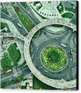 Aerial View Of Shaghai Traffic Canvas Print