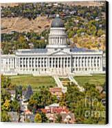 Aerial View Of Utah State Capitol Building Canvas Print by Gary Whitton