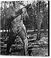 African-american Soldier Charging Canvas Print