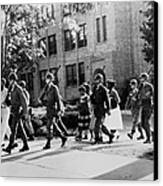African-american Students Leaving Canvas Print by Everett