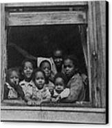 African American Woman And Six Children Canvas Print