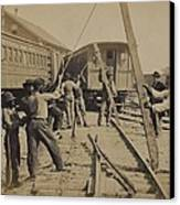 African American Work Crew In Northern Canvas Print by Everett