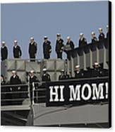 Ailors And Marines Man The Rails Aboard Canvas Print by Stocktrek Images