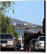 Alcatraz Island Through The Hyde Street Pier In San Francisco California . 7d13973 Canvas Print by Wingsdomain Art and Photography