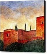 Alhambra At Sunset Canvas Print