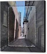 Alley With Guy Reading Layered Canvas Print by Anita Burgermeister
