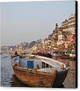 Alone On The Ganges Canvas Print by Jen Bodendorfer