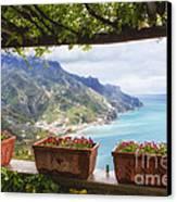 Amalfi Coast Vista From Under A Trellis Canvas Print by George Oze