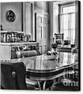Americana - 1950 Kitchen - 1950s - Retro Kitchen Black And White Canvas Print