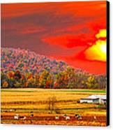 Amish Farm Sundown Canvas Print by Randall Branham