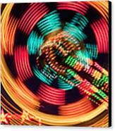 Amusement Park Ride At Night Canvas Print by Bryan Mullennix