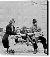 An African American Family On A Park Canvas Print by Everett