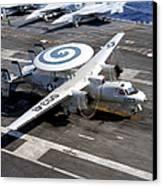 An E-2c Hawkeye Lands On The Flight Canvas Print