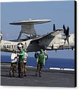 An  E-2c Hawkeye Launches From Aboard Canvas Print by Stocktrek Images