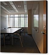 An Office Interior. Door Open To Empty Canvas Print by Marlene Ford