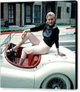 Anita Ekberg, On Her Jaguar, Late 1950s Canvas Print by Everett