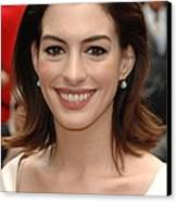 Anne Hathaway At The Press Conference Canvas Print