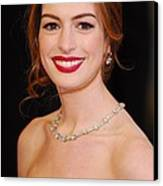 Anne Hathaway Wearing Tiffany Jewelry Canvas Print by Everett