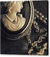 Antique Cameo Medallion On Wood Canvas Print