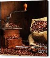 Antique Coffee Grinder With Beans Canvas Print by Sandra Cunningham