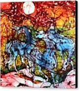 Appaloosas On A Fiery Night Canvas Print by Carol Law Conklin
