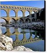 Aqueduc Du Pont Du Gard.provence Canvas Print by Bernard Jaubert