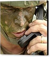 Army Master Sergeant Communicates Canvas Print