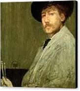 Arrangement In Grey - Portrait Of The Painter Canvas Print by James Abbott McNeill Whistler