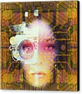 Artificial Intelligence: Face And Circuit Board Canvas Print by Mehau Kulyk